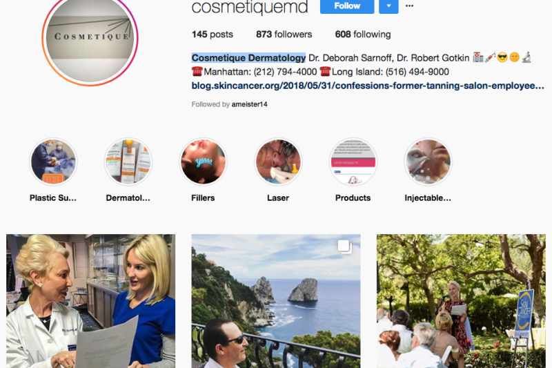 Cosmetique Dermatology, Laser & Plastic Surgery Instagram Account